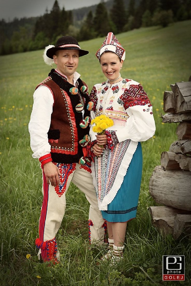Slovak Highlanders Traditional Folk Attire - A Beautiful Bride in a Kroj of Her Region