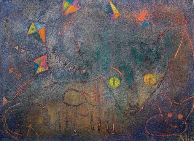 ALICE RAHON, The Cats, 1949, Oil and sand on canvas. Kemper.