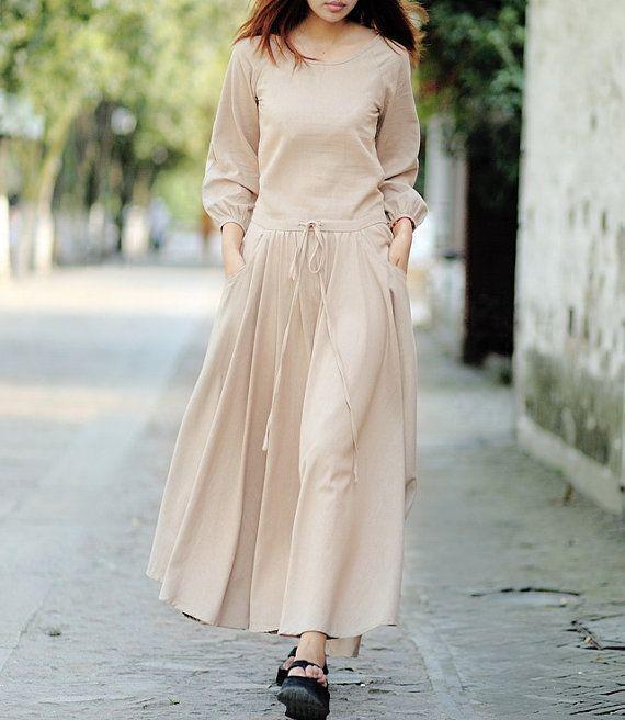 Adjustable Waist Long Sleeve Linen Dress CustomMade by zeniche, $69.00