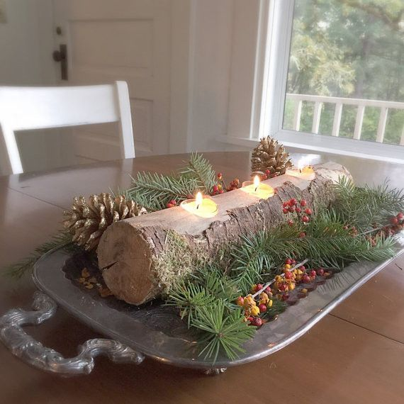 Rustic log candle holder christmas table centerpiece long