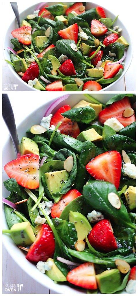 Avocado Strawberry Spinach Salad with Poppyseed Vinaigrette
