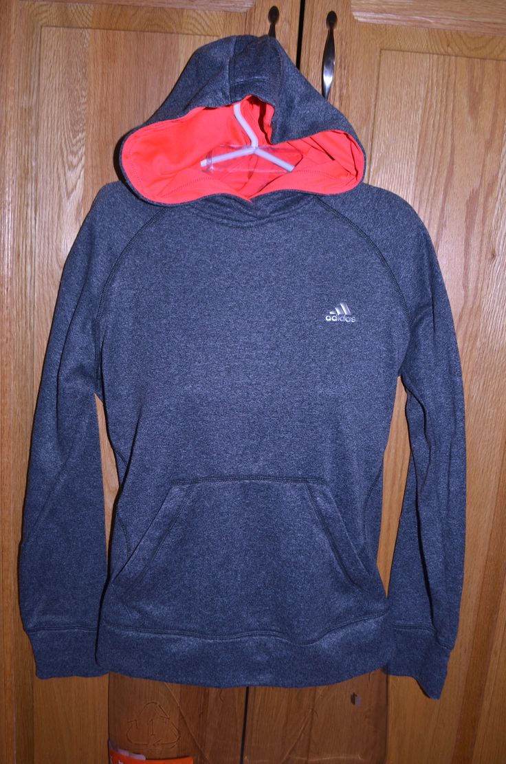 Adidas Ultimate fleece Hoodie Climawarm. Grey with bright neon pink inside hood. Size Medium. $25