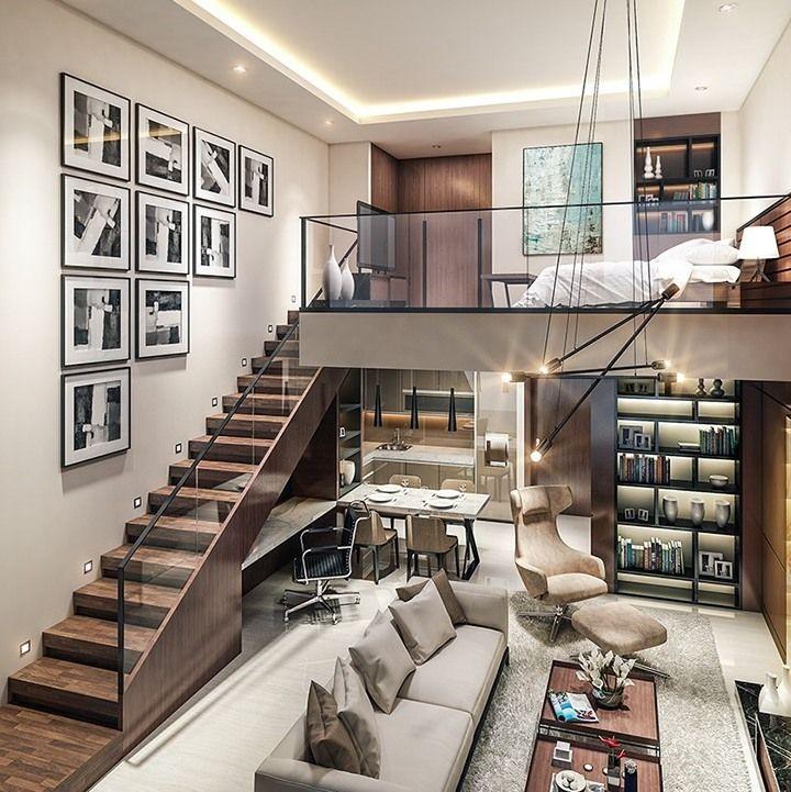 Inspiração do dia! Esse loft mega sofisticado com uma parede linda de quadros P&B. Inspire-se também.    #intadicas #instadecor #inspiracao #quadros
