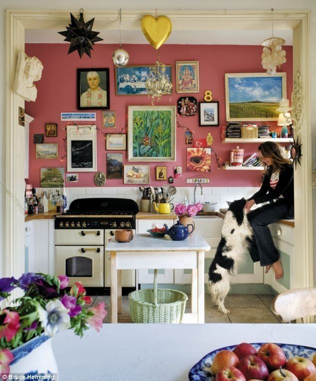 Yes, pink walls in the kitchen can certainly be a thing! And art!! A kitchen is after all a place of great creativity, and so art should always be a part of it.