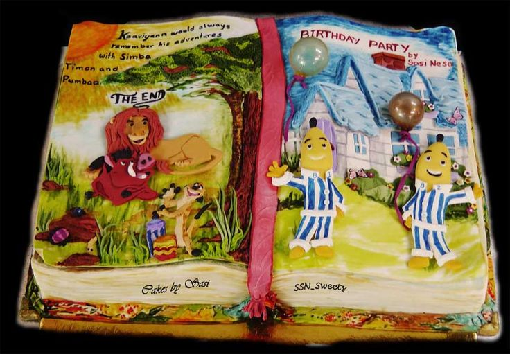 The Story Book ...Lion King & Bananas in Pyjamas   Book cake, Book cakes, Open book cakes