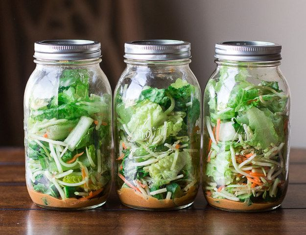 Salad packed in a jar with peanut dressing on the bottom. | 26 Make-Ahead Foods Perfect For A Spring Picnic