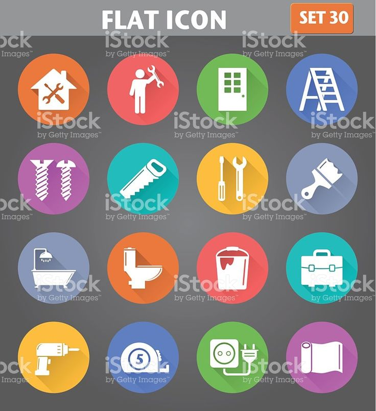 Home Repair and Tools Icons set in flat style royalty-free stock vector art