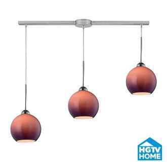 View the Elk Lighting 10240/3L-PUR HGTV Home Cassandra Three-Light Linear Mini Pendant Cluster with Purple Glass Shades, in Polished Chrome Finish at Build.com.