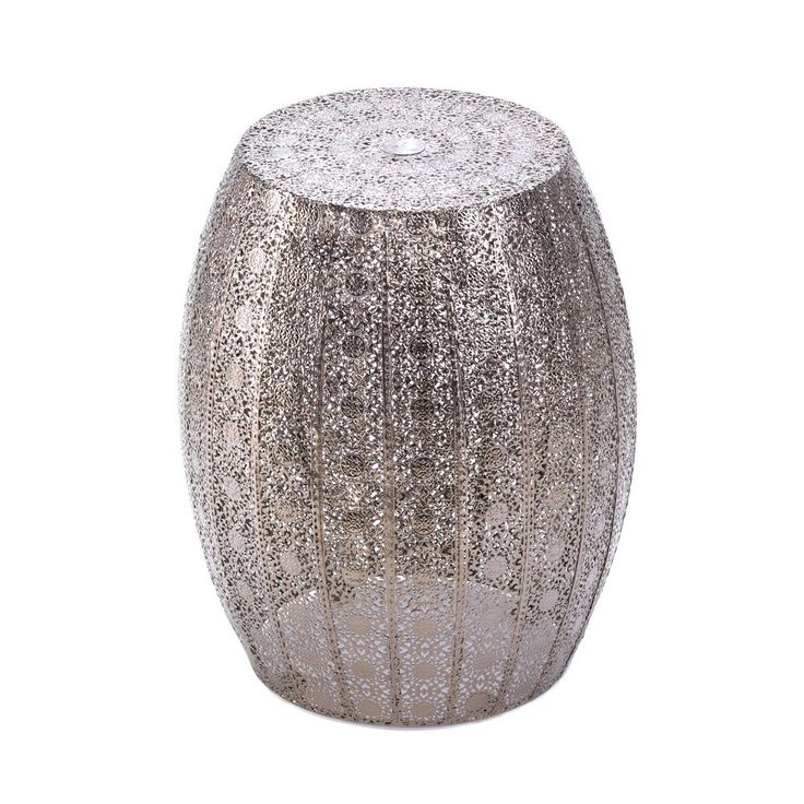 """Looking for a glamorous room accent with serious """"wow"""" factor? This is it! The marvelous Moroccan Decorative Stool features an intricate and dazzling pattern and is a luxurious side table display stan"""