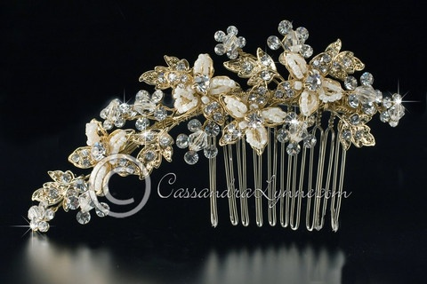 Gold Seed Bead Flowers & Crystal Wedding Side Comb