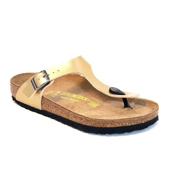 Birkenstock Gizeh - Gold Steel Buckle/Thong Footbed Sandal