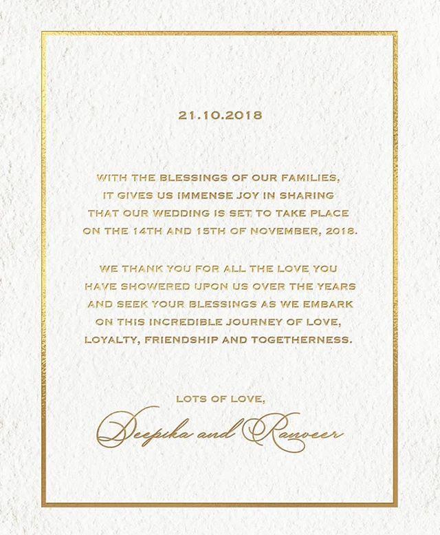 Ranveer Singh And Deepika Padukone Announce Wedding Date Wedding Invitation Cards Deepika Padukone Big Wedding