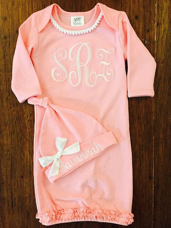 203 best future baby images on pinterest child room puppy names newborn girl take home outfit monogram layette gown layette gown and personalized hat new negle Gallery