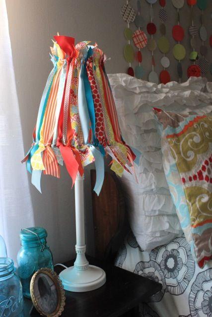 DIY Ribbon Lampshade Tutorial - using a shade frame & scraps of ribbon.