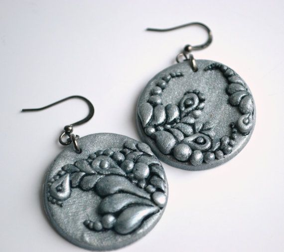 Silver polymer clay earrings  floral pattern by twocatsboutique, $18.00