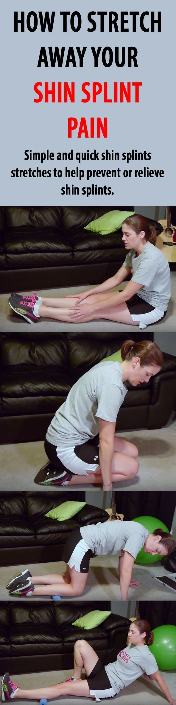 Stretch away your shin splint pain with these quick and easy moves! #shinsplints # shinsplintpain #shinsplintsstretches