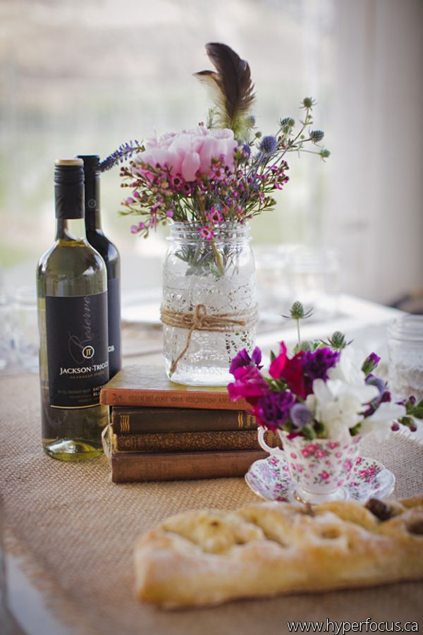 Vintage flower touches at a winery wedding.
