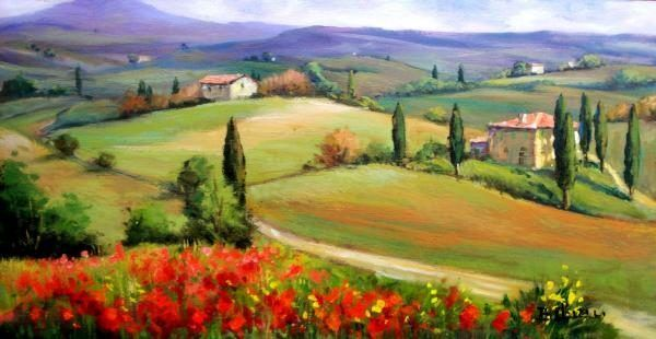 2011 Tuscany panorama Painting 50% off - Ipaintingsforsale.com