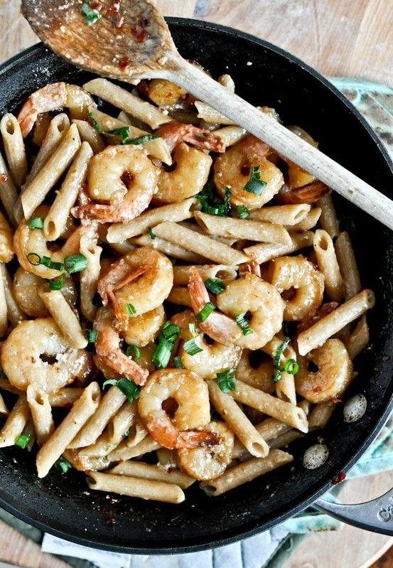 Spicy Parmesan Shrimp Skillet. Yes, please.