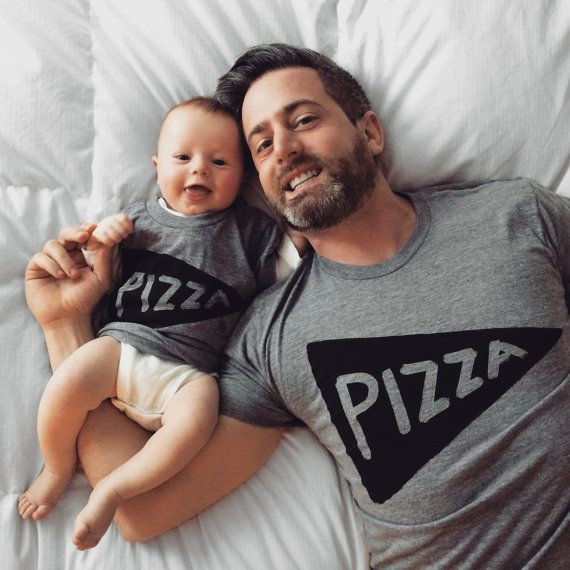 Matching Father Son Pizza T shirt Sale - Dad shirts & matching kids shirt special!  When you buy this listing, you will receive 2 shirts currently in