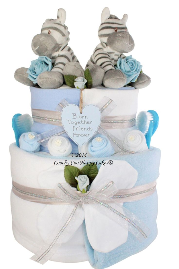 Newborn baby gift for twins baby boys nappy cake www.CoochyCooNappyCakes.co.uk