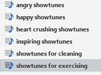 My showtunes for exercising are all the ones that make me want to overthrow the government...