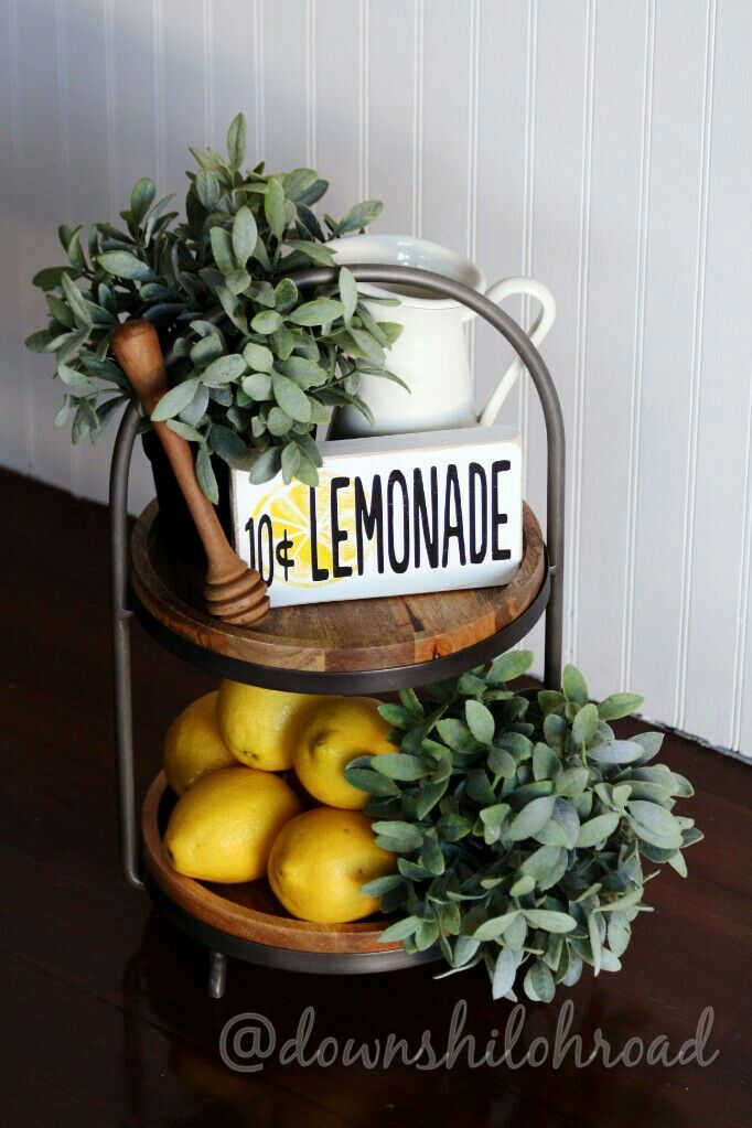 How to decorate a 2 tier tray for the Summer. World Market tray, IKEA plants and pitcher, fresh lemons and a cute wooden sign from @graceinspiredwood