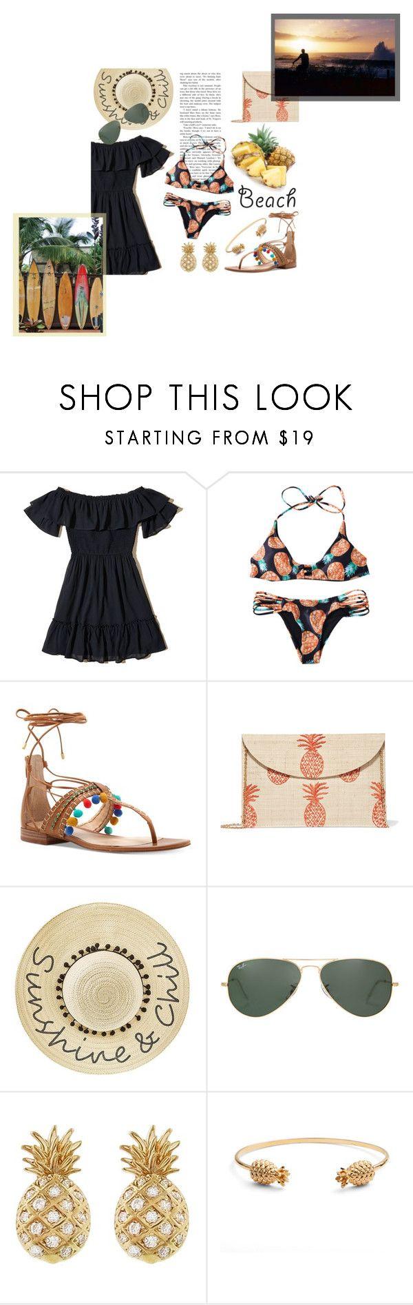 """Beachwear: Patterned Bikini + Pom Pom Sandals"" by random11-1 ❤ liked on Polyvore featuring Hollister Co., Vince Camuto, Kayu, SHAN, Betsey Johnson, Ray-Ban, Sydney Evan, Rachel Jackson and beachday"