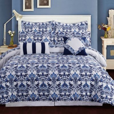 Tribeca Living Catalina Reversible Duvet Cover Set in Blue - www.BedBathandBeyond.com