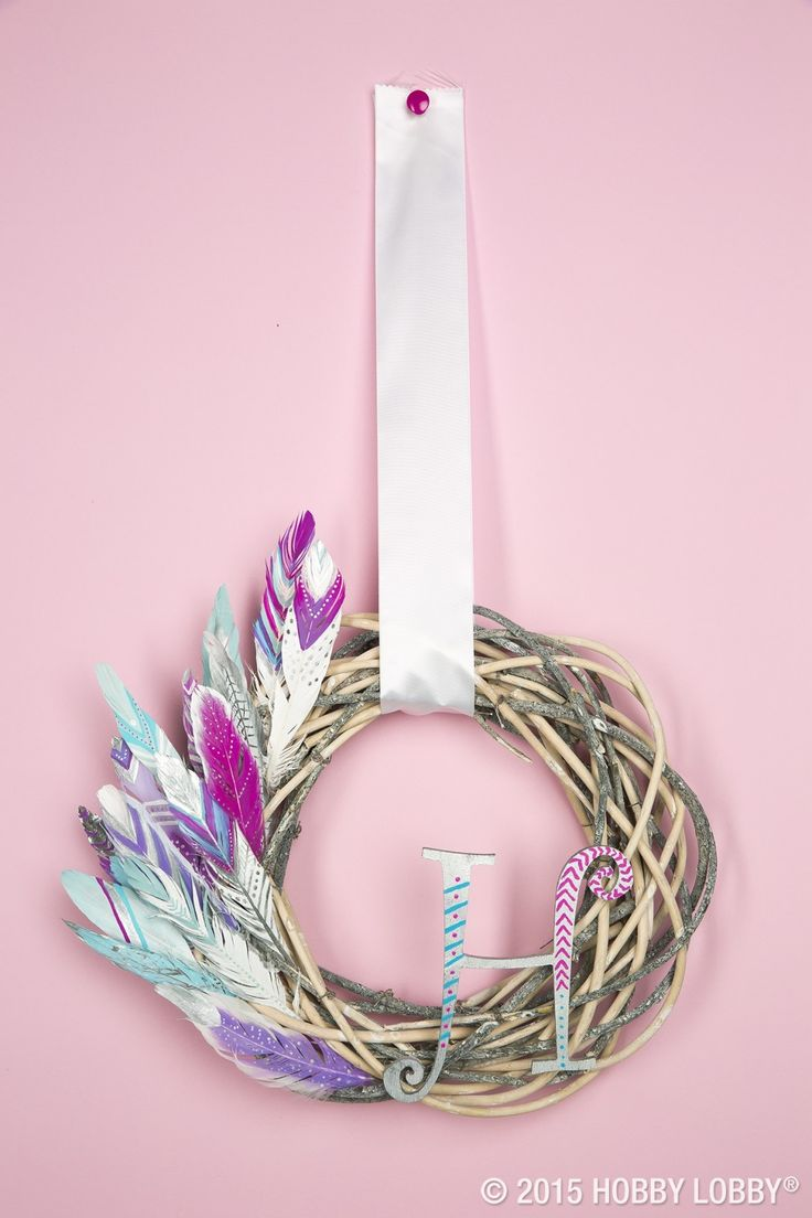 Plaid monograms natural wood ornaments feathers and i couldn t - Here S A Simple Diy To Spruce Up Your Decor Add A Few Hand Painted
