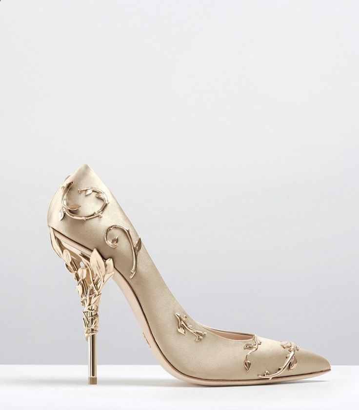 Ralph  Russo - Haute Couture Collection SHOES - STYLE 09-EDEN PUMPS-GOLD SATIN WITH LIGHT GOLD LEAVES