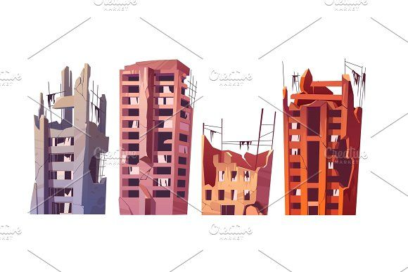 Destroyed City Buildings After War City Buildings Abandoned City City Vector