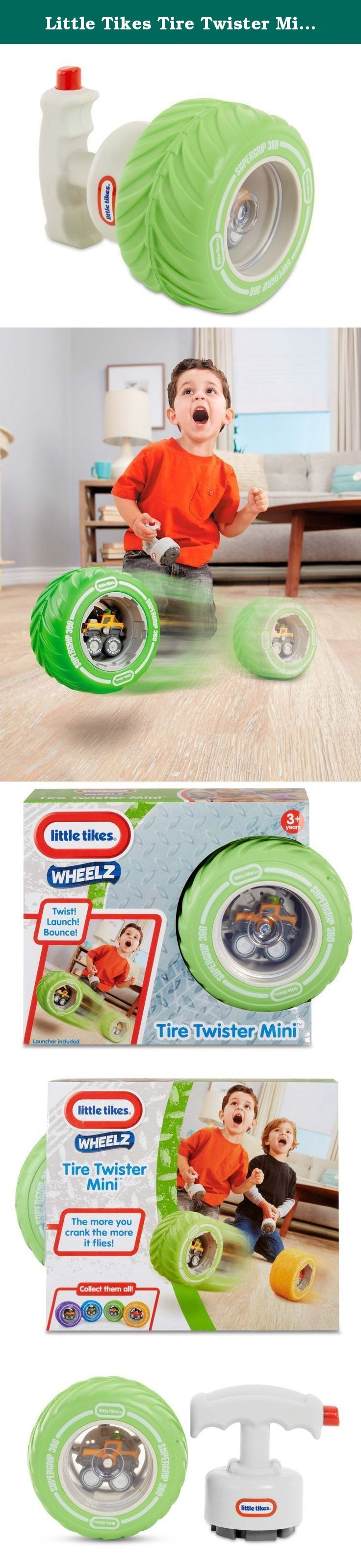 Little Tikes Tire Twister Mini - Jeep. From the Little Tikes Wheelz collection, Tire Twister Minis are perfect for little ones looking for top speed fun. Simply load the Tire Twister Mini on the launcher, crank it up and release to let it fly. The more you crank, the further it flies! The Mini's soft foam design makes it perfect for indoor play. With four different cars to collect, there are so many ways to twist, launch, and bounce! Product Features: • Includes one tire bouncer and…