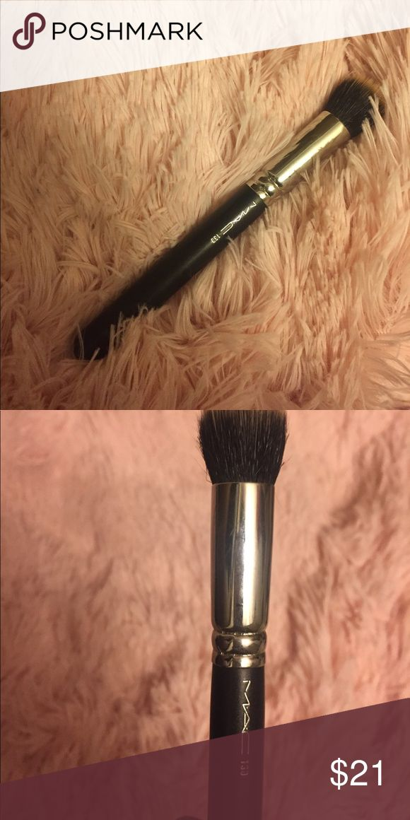 MAC Cosmetics 130 Short Duo Fibre Brush Gently used MAC 130 Stippling brush. Great for foundation and blush application. Disinfected and purchased last year :) MAC Cosmetics Makeup Brushes & Tools