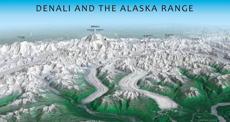 The Alaska Range - Two major faults that contribute to the uplift of Denali - the Denali Fault & the Hines Creek Fault. Land south of the faults moves to the west relative to the north at a rate of about 1 centimeter per year. A large bend in the Denali Fault directly north of Denali causes rocks to bunch up; this is one of the reasons it is so tall.
