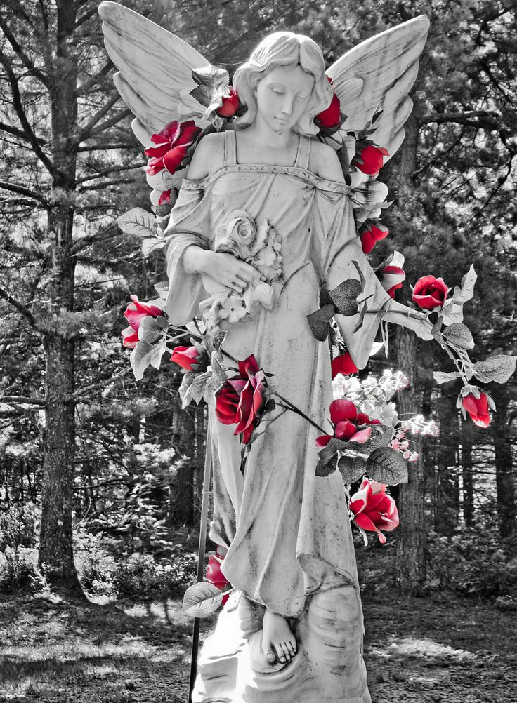 angel in roses statue by jason gendron photography