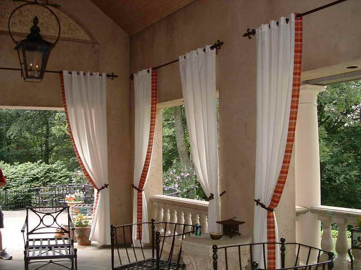 Outdoor Patio Curtain Ideas With Iron Chairs