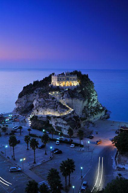 Santa Maria dell'Isola Church, Tropea, Calabria, Italy - Night