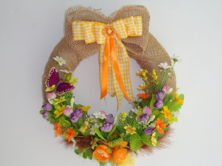 Couronne de fleurs pour porte d'entrée. Couronne de bienvenue en toile de jute naturelle, Halloween. Couronne pour porte été champêtre, printemps, automne.