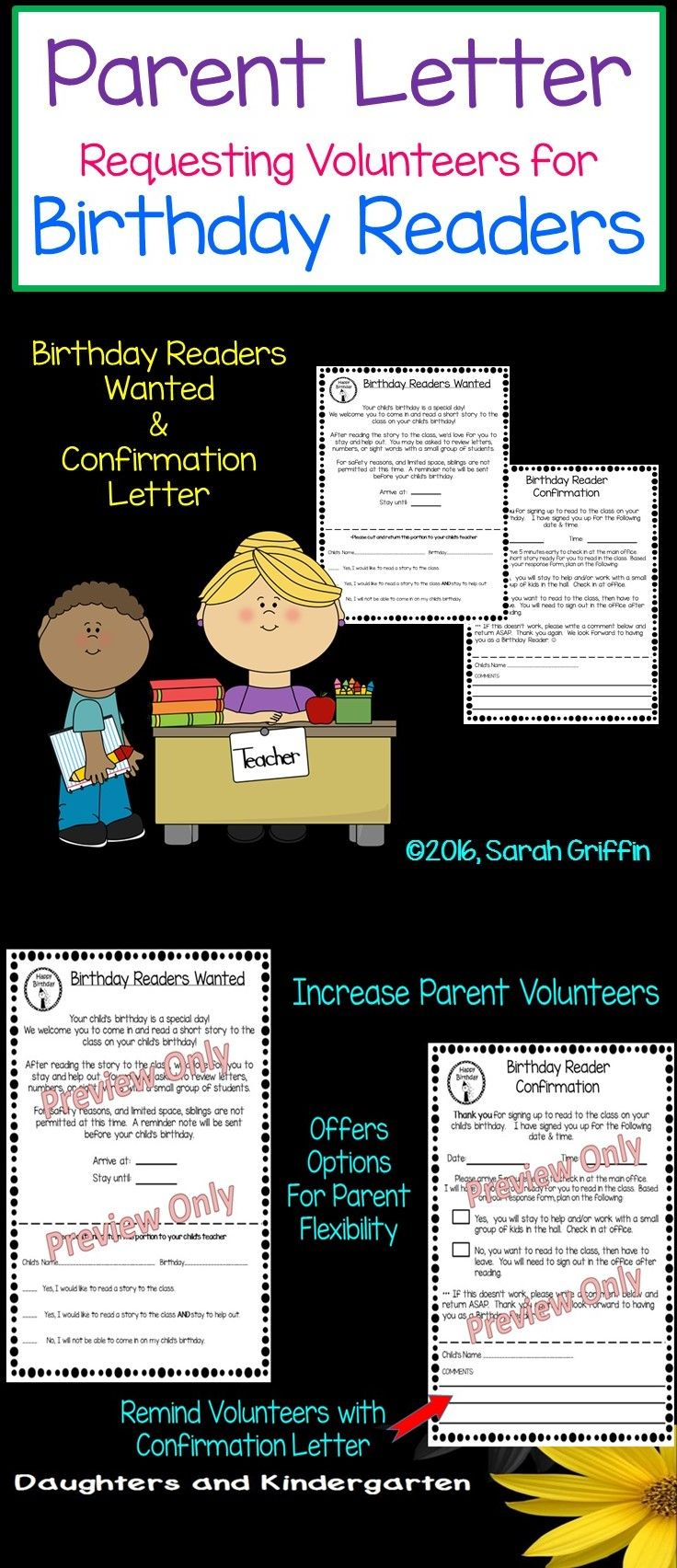 Parent Volunteer Letter requesting Birthday Readers. Confirmation letter included! Sarah Griffin, Daughters and Kindergarten https://www.teacherspayteachers.com/Product/Parent-Volunteer-Letter-Birthday-Readers--1355646