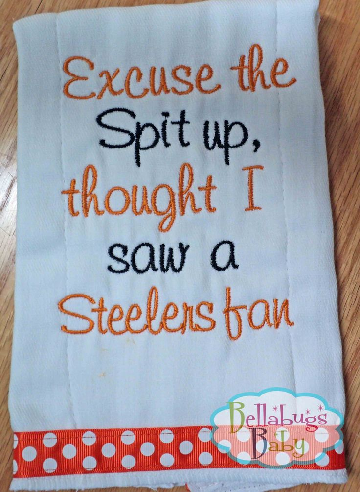 Excuse the Spit Up - Cincinnati Bengals or your favorite team Monogrammed Baby Burp Cloth by BellabugsBaby on Etsy https://www.etsy.com/listing/207995479/excuse-the-spit-up-cincinnati-bengals-or