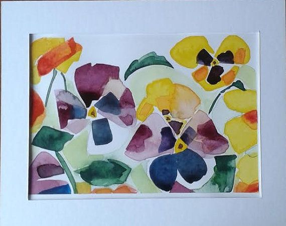 Pansies watercolour painting by Vicky Curtin by MyCoveArt on Etsy