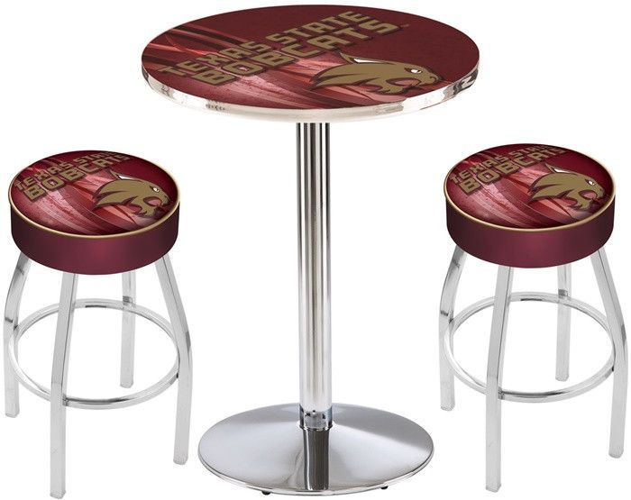 Texas State Bobcats D2 Chrome Pub Table Set.  Available in two table widths. Visit SportsFansPlus.com for Details.
