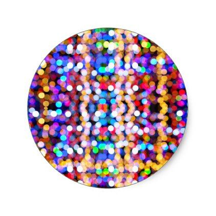 Colourful Bokeh Blurred Light Abstract Pattern Classic Round Sticker - christmas stickers xmas eve custom holiday merry christmas