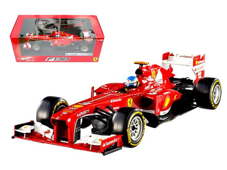 Hot wheels Ferrari F2013 F138 Fernando Alonso Formula 1 2013 F1 1/18 Diecast Car Model by Hotwheels - Brand new 1:18 scale diecast car model of Ferrari F2013 F138 Fernando Alonso Formula 1 2013 F1 die cast car model by Hotwheels. Brand new box. Rubber tires. Has steerable wheels. Made of diecast metal. Detailed interior, exterior. Dimensions approximately L-10.5, W-4.5, H-3.25 inches.-Weight: 4. Height: 8. Width: 15. Box Weight: 4. Box Width: 15. Box Height: 8. Box Depth: 7