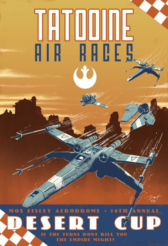 Tatooine Air Race Poster - Star Wars - Paul Roman Martinez