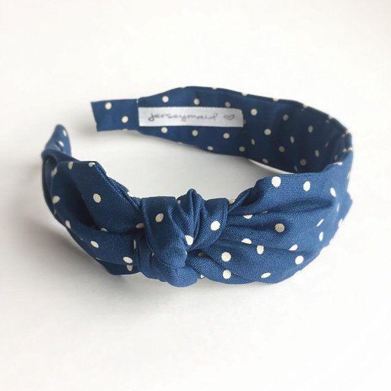 Womens Polka Dot Bow Denim Cloth Headband Hairband Knot Hair Band Wide Headwear