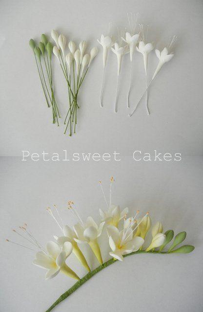 Freesia fondant - inspiration - links to cake/fondant flower pics