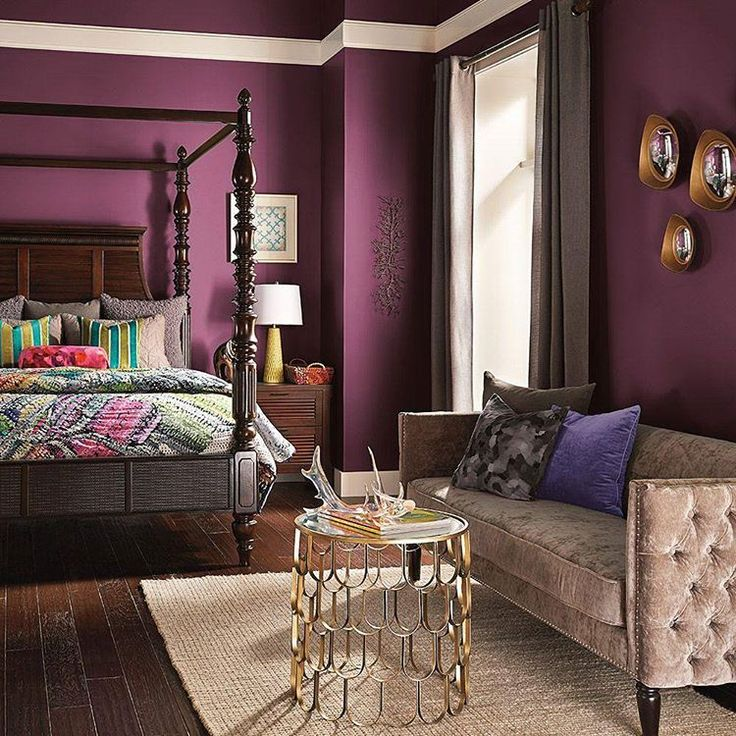 astonishing plum bedroom walls | Interior Design Ideas | Purple bedrooms, Purple walls ...