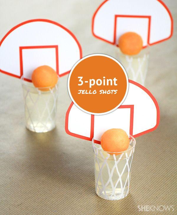 March Madness 3-point jello shots with vodka-soaked cantaloupe basketballs!